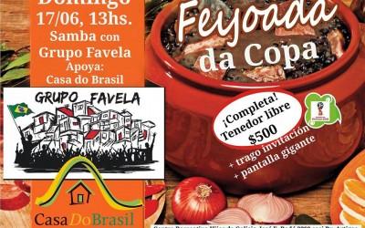 Feijoada + Partido de Brasil en pantalla grande + música en vivo (sábado 17/06 – 13:00hs).